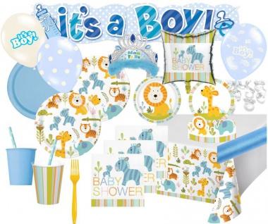 XXL 112 Teile Baby Safari Blau Baby Shower Party Deko Set für 16 Personen - Junge