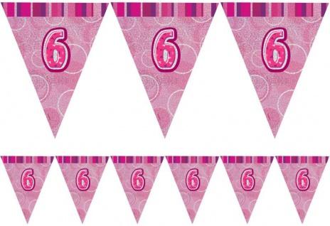 6. Geburtstag Wimpel Girlande Pink