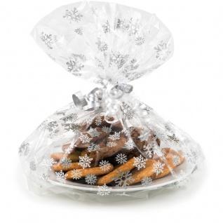 6 Zellophan Verpackungen für Plätzchen Teller Motiv Schneeflocken