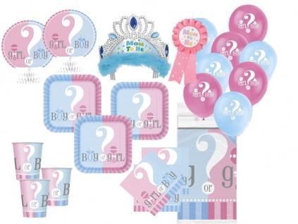 XXL 63 Teile Baby Junge oder Mädchen Party Babyshower Set für 16 Personen
