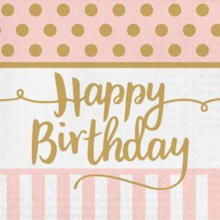 36 Teile Pink Chic Happy Birthday Party Deko Set in Rosa und Gold zum Geburtstag für 8 Personen - Vorschau 4