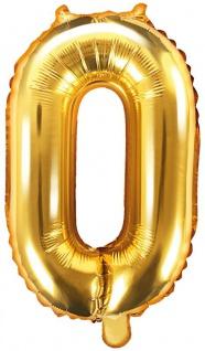 Folienballon Zahl 0 Gold Metallic 35 cm