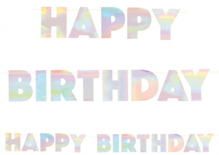 Irisierende Geburtstags Girlande Happy Birthday