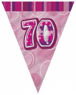 70. Geburtstag Wimpel Girlande Pink