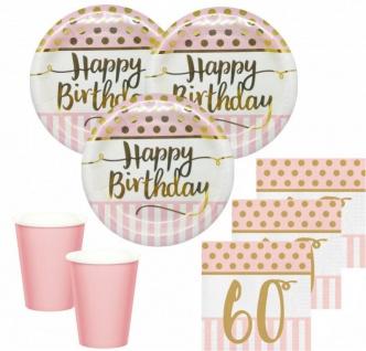 36 Teile Pink Chic Party Deko Set zum 60. Geburtstag in Rosa und Gold Glanz für 8 Personen