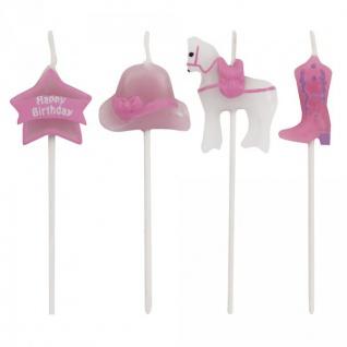 4 Kerzen Picks rosa Pferde - Vorschau 1