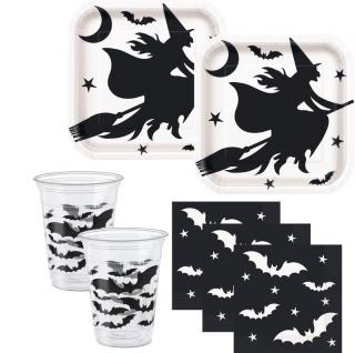 Tischdecke schwarze Hexe und Fledermaus - Vorschau 2