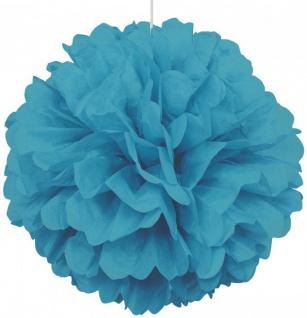 1 großer Papier Dekoball 40 cm Karibik Blau