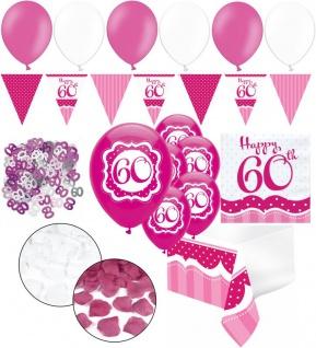 XXL 35 Teile zum 60. Geburtstag Perfectly Pink für 18 Personen - Servietten