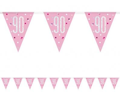 Wimpel Girlande Pink Dots Glitzer zum 90. Geburtstag