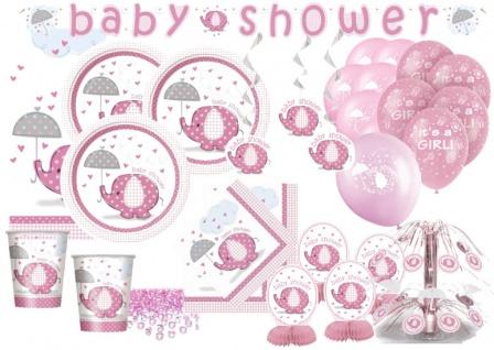 XXL+ 69 Teile Baby Elefant in Rosa Babyshower Set für 16 Personen