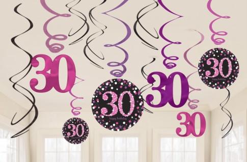 12 hängende Girlanden Glitzerndes Pink und Schwarz 30. Geburtstag