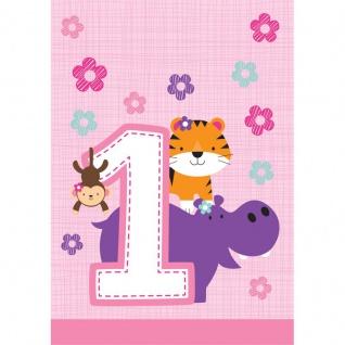 8 Party Tüten 1. Geburtstag im Zoo Rosa