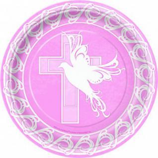 8 Papp Teller Kreuz und Taube rosa