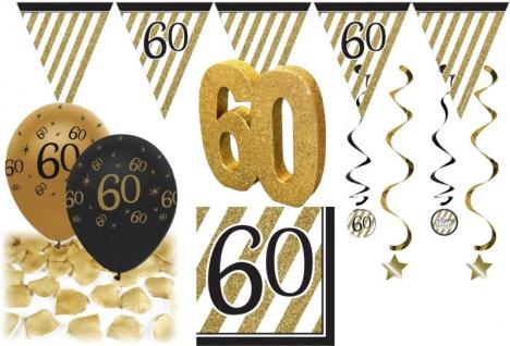 30 tlg. Party Deko Set zum 60. Geburtstag oder Jubiläum in Schwarz & Gold - Vorschau 1