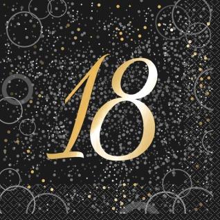 18. Geburtstag 16 Servietten in Schwarz Gold foliert