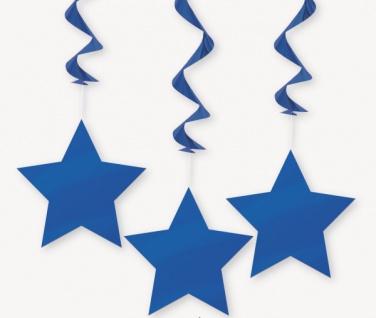 3 hängende Sterne Girlanden Königs Blau