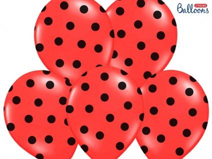 6 Luftballons Rot mit schwarzen Punkten