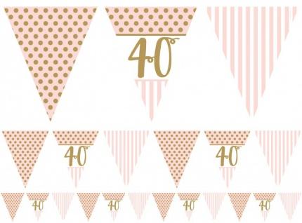 XL 44 Teile Pink Chic Party Deko Set zum 40. Geburtstag in Rosa und Gold Glanz für 8 Personen - Vorschau 5