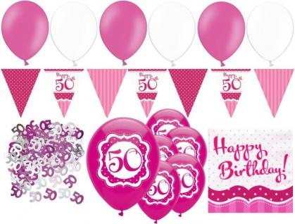 XL 32 Teile zum 50. Geburtstag Perfectly Pink für 18 Personen - Servietten
