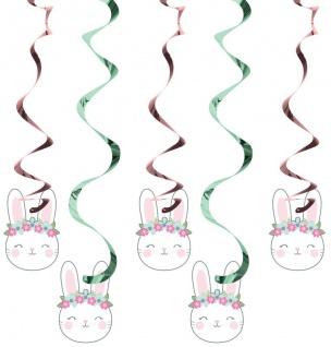 5 hängende Girlande rosa Häschen