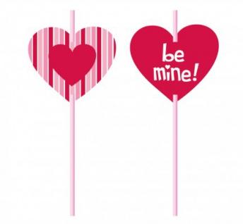 6 Valentinstag Herz Trinkhalme