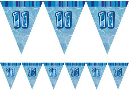 11. Geburtstag Wimpel Girlande Blau