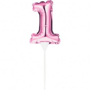 Kuchen oder Deko Stecker Zahl 1 Pink selbstaufblasend
