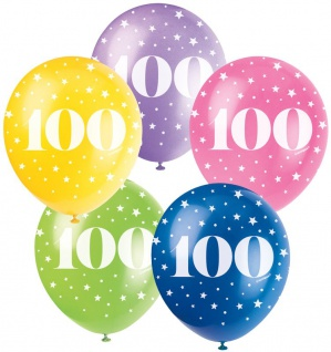 100. Geburtstag 5 bunte Luftballons