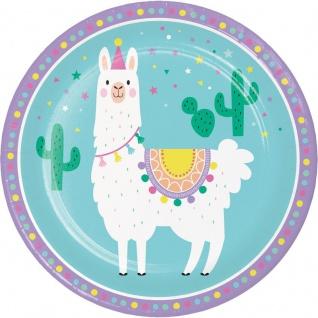 8 Papp Teller bunte Lama Party