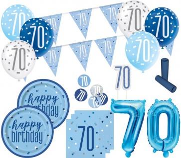 XL 36 Teile 70. Geburtstag Blue Dots Party Deko Set 8 Personen