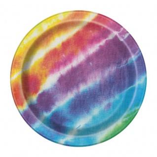 8 kleine Papp Teller Regenbogen Hippie Batik Style