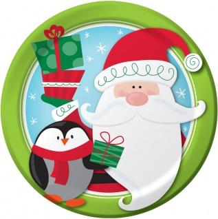 8 Teller Weihnachtsmann und Pinguin
