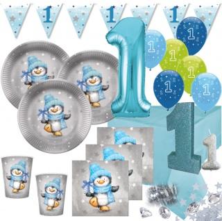 XXL 71 Teile Erster Geburtstag Deko Set Pinguin Junge in Hellblau und Silber 16 Personen 1. Geburtstag