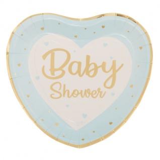 8 Papp Teller zur Baby Party Herzen in Blau und Gold