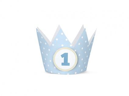 4 Party Krönchen Hellblau + inkl. 4 Aufkleber zum 1. Geburtstag - Vorschau 2
