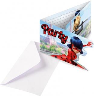 8 Einladungskarten Miraculous Ladybug und Cat Noir