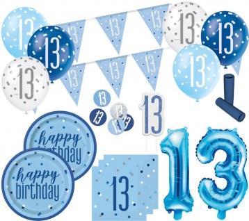 XL 36 Teile 13. Geburtstag Blue Dots Party Deko Set 8 Personen