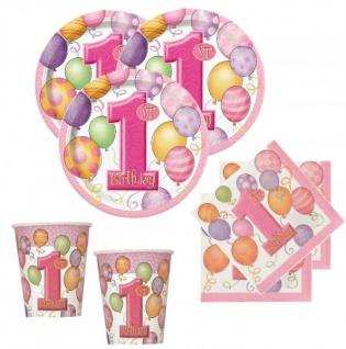8 kleine Papp Teller Erster Geburtstag rosa Ballons - Vorschau 2
