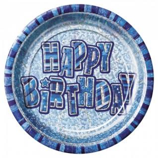 8 glitzernde Happy Birthday Party Teller Blau