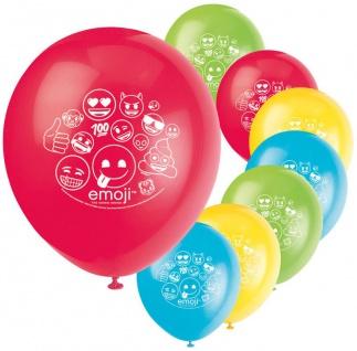 8 bunte Emoji Luftballons