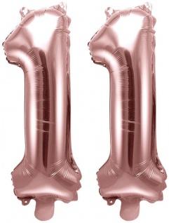 Folienballons Zahl 11 Rosegold Metallic 35 cm
