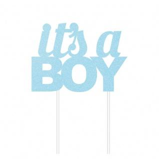Glitzer Kuchen oder Deko Stecker Baby Party It's a Boy Blau