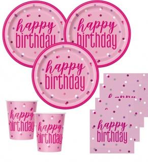 48 Teile Happy Birthday Pink Dots Geburtstag Party Set 16 Personen