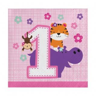 16 kleine Servietten 1. Geburtstag im Zoo Rosa - Vorschau 1