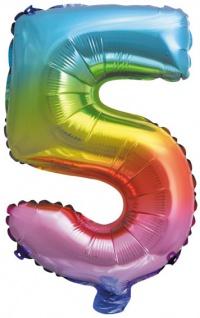 Folienballon Zahl 5 Regenbogen Metallic 40 cm