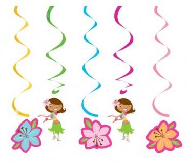 5 hängende Hula Mädchen Girlanden