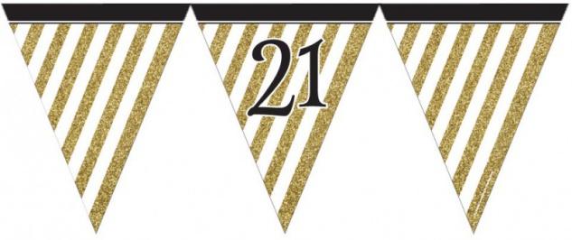 Wimpelkette 21. Geburtstag Black and Gold