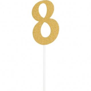 Glitzer Kuchen oder Deko Stecker Zahl 8 Gold
