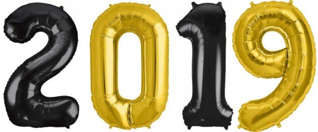 Folien Ballon Zahl 2019 in Gold & Schwarz - XXL Riesenzahl 86 cm zum Silvester, Neujahr, Jahreszahl